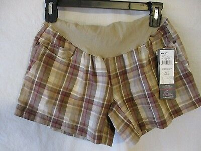 Oh Baby by Motherhood Cotton Blend Reg Size Maternity Tan Plaid Shorts SR$40 NEW