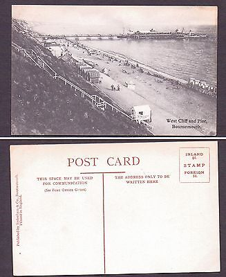 Vintage Postcard- New. West Cliff and Pier,Bournemouth.Bathing huts on beach.