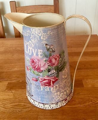 Used Vintage Effect Metal Cream Vase Decorative Accent 27cms Height