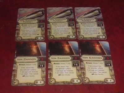 Star Wars X-Wing Miniatures - 6 Upgrade Cards Ion Cannon/Cannon Turrets. Mint.