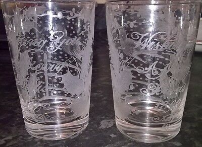 Two Beautiful Christmas Glasses Marked 1890