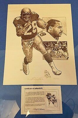 "Vintage 1976 Seahawks Lithograph Signed By Curt Warner 20"" x 16"" 26/1000 w/Doc."
