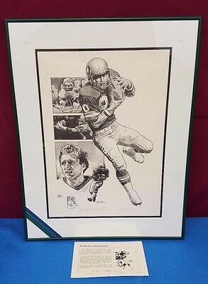 "Vintage Seattle Seahawks Framed Lithograph Signed by Steve Largent 20"" x 14"""