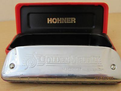 HOHNER Golden Melody key of C harmonica mouth organ and case