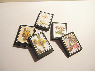 5 Dolls House Miniature Vintage Orchids Botanical  Books Set 1
