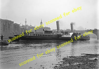 Photo - Royal Sovereign paddle steamer moored in the Thames, May 1920