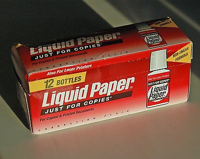 12 Bottles BOX Paper Mate Liquid Paper JUST FOR COP Correction Fluid 22ml White