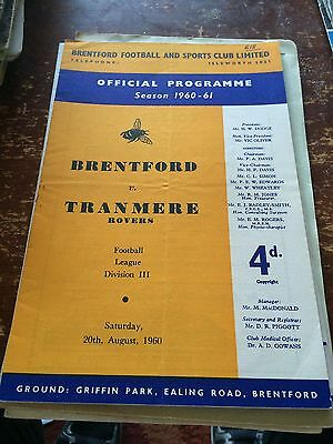 Brentford v Tranmere rovers 20th August 1960
