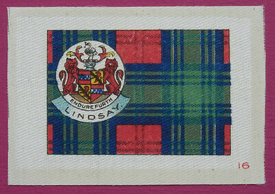 LINDSAY Clan Tartan and Coat of Arms SILK card issued in 1922