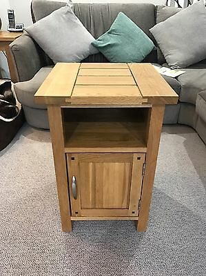 Solid Oak Side Table With Cupboard - 40 x 40 x 60cm (height)