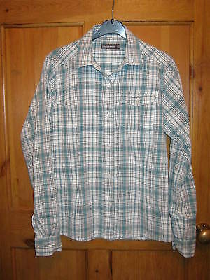 Ladies Craghoppers Blue White Check Shirt Blouse Top; Walking Hiking; Size 10