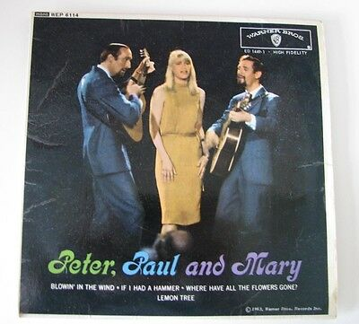"""PETER, PAUL AND MARY – Peter, Paul And Mary WEP 6114 EP 7"""" Vinyl EP Record"""
