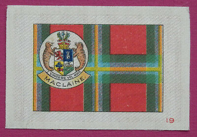 MACLAINE Clan Tartan and Coat of Arms SILK card issued in 1922