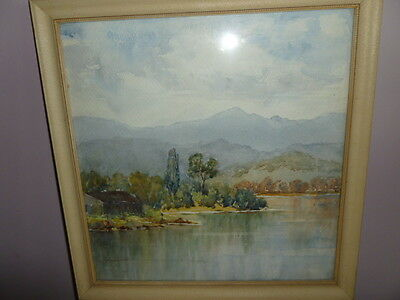 Old framed watercolour painting Huon River 1954 Tasmania Australia by Burrows