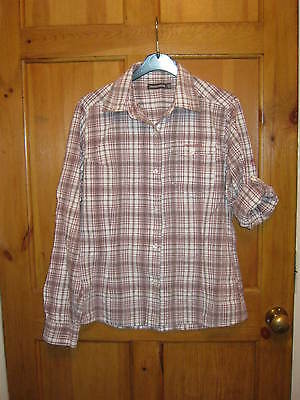 Ladies Craghoppers Red White Check Shirt Blouse Top; Walking Hiking; Size 10