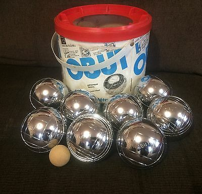 Set Of 8 French Obut 'Dog' Boules Pétanque Plus Wooden Jack In Carry Bucket