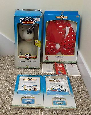 1986 WORLDS OF WONDER WOW TALKING PEANUTS SNOOPY WORKS LOT w/BOX TAPE OUTFIT