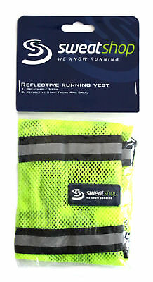 SweatShop Unisex Yellow Silver Reflective Mesh Running Cycling Vest One Size