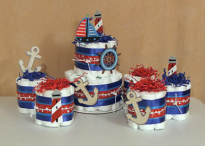 Set of 6 Diaper Cake Baby Shower Ahoy! It's A Boy, Nautical, Boat Ocean Sea