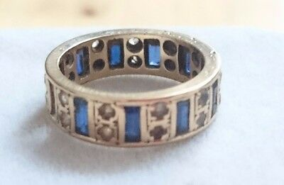 Vintage Art Deco 9ct Gold with Blue Sapphire & Clear Topaz Ring (1 stone missed)