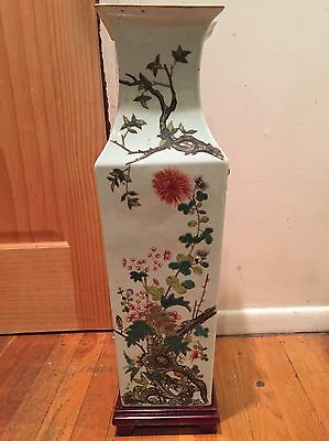 Antique Large Chinese Porcelain Vase Floral Design Marked W/ Wooden Stand