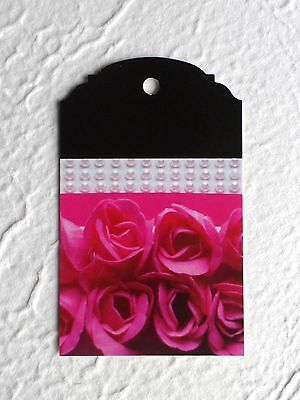 Fashion Tags Jewelry Tags 100 Roses & Faux Pearls Hang Tags Price Tags W/  Loops