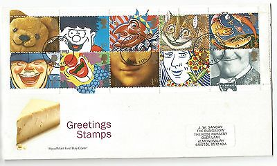 1991 Greetings stamps se tenant block of 10 on illustrated FDC