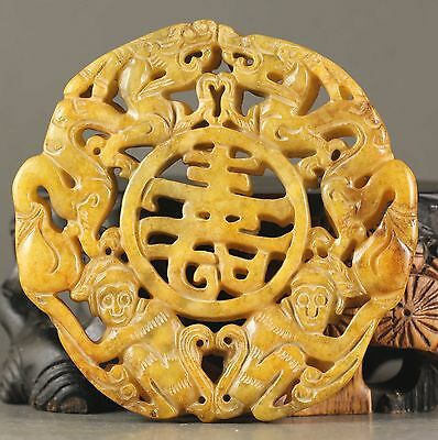 Old Chinese natural jade hand-carved statue of double dragon pendant lNO.X560
