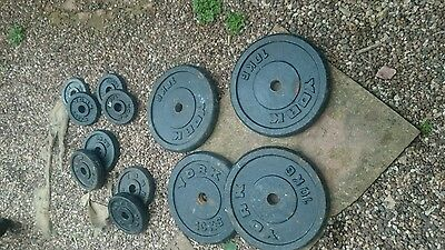 York weight plates, mixed weights = 55kg standard, bench, lifting fitness rugby