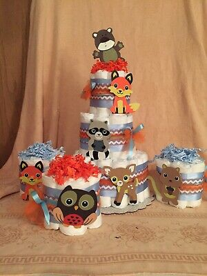 3 Tier Diaper Cake Purple Woodland Forest Friends Fox Baby Shower Centerpiece
