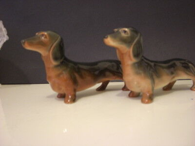 "2 Vintage china dachshund 6"" long Beswick? sausage dog  excellent condition"
