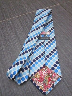 Mens Paul Smith Blues Polka Dots Pattern Silk Tie (Made in England)