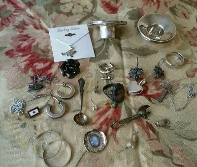 Large lot of sterling silver some scrap some not 75 grams