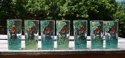 "Hand Painted Set Of 7 Hunting Scene Glasses ""free Shipping"""