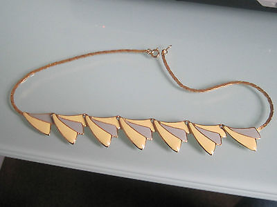Vintage 1980s necklace enamel and gold plated? metal