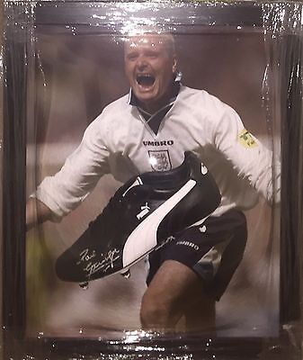 Signed Paul Gascoigne Framed Football Boot Display England Rangers Newcastle