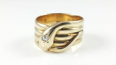 Vintage 9Ct Yellow Gold Old Cut Diamond Snake Ring - Chester 1947 - 9.1G