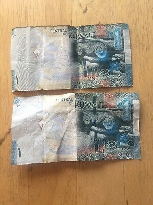 2 Notes --- KUWAIT 1 DINAR  2014 Central Bank CURRENCY MONEY BANK NOTE Mosque