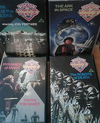 DOCTOR WHO - 4 VHS tapes - Jon Pertwee, Tom Baker