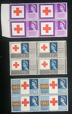 British stamps QE 11 Red Cross Centenary Congress 1963 sg: 642 - 644 L/H Mint