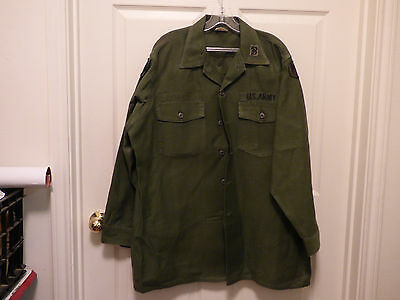 ARMY OD Green Military Issue LS Shirt 17 1/2 x 34 8405-00-615-0382