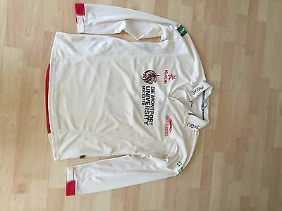 """CrIcket Shirt Leicestershire CCC 4 day shirt L/S match worn Size M 40"""" chest"""