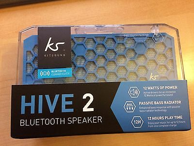 KitSound Hive2 Bluetooth Wireless Stereo Speaker for Smartphones Blue - New