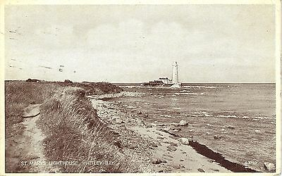 1942 Postcard: Whitley Bay, Northumberland, St Mary's Lighthouse