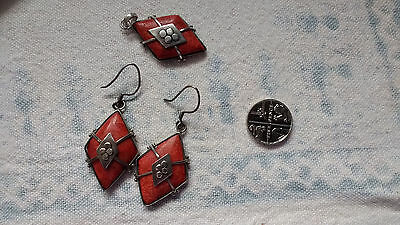 Unusual ethnic coral and silver pendant and drop earrings