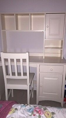 Childrens off white desk with a topper and matching chair
