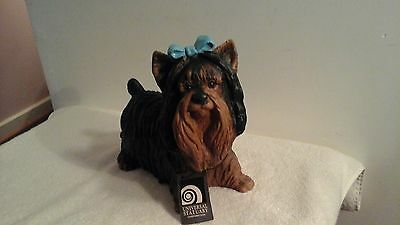 Large Black & Brown Yorkie Dog Statue By Universal Statuary Corp 1994 #807