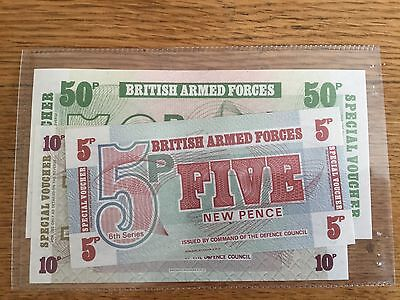 British Armed Forces Special Voucher Notes 5p 10p 50p - 6th Series mint conditon