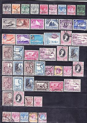 British commonwealth stamps - Malaya States BMA Singapore 50+ Used stamps