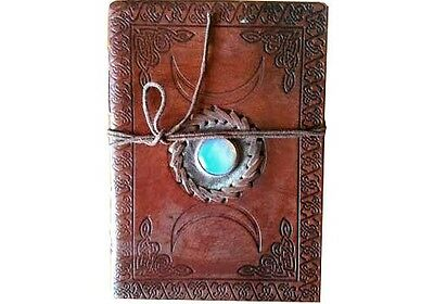 """Triple Moon with Stone 7"""" Leather Book of Shadows Journal Linen Parchment Pages"""